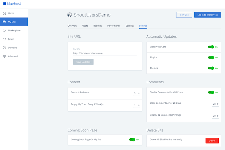 Dashboard WordPress của Bluehost