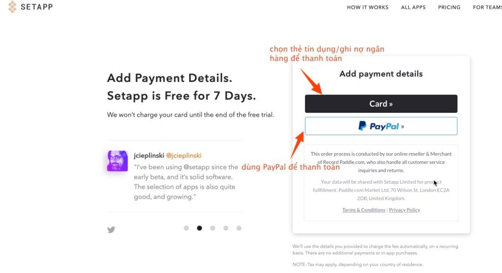 Chọn phương thức thanh toán Setapp - Thẻ tín dụng, ghi nợ, PayPal