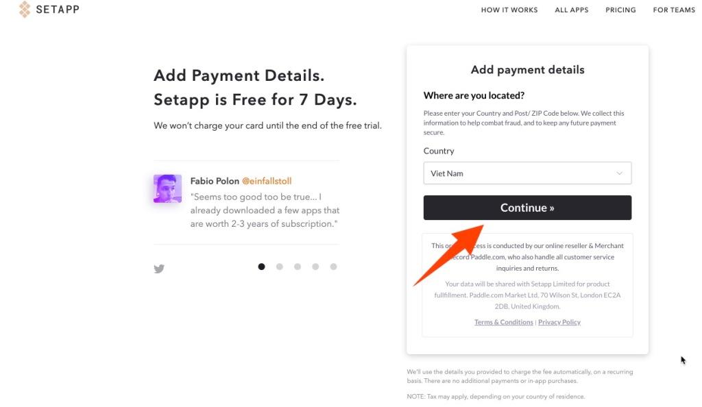 Tới bước nạp phương thức thanh toán Setapp