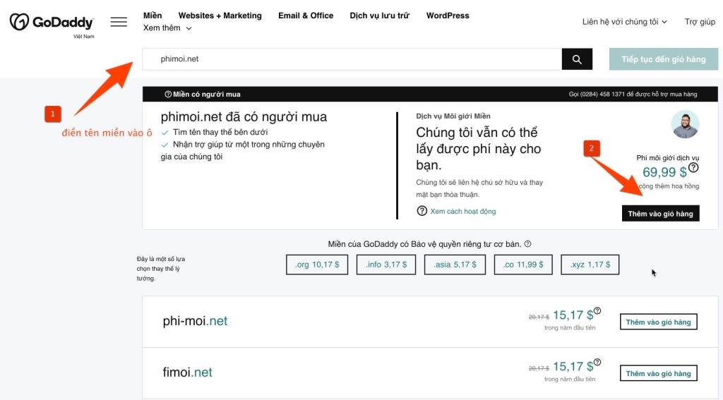 mua tên miền đã bị người khác mua với GoDaddy