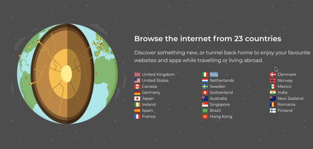 Các server kết nối của tunnelbear