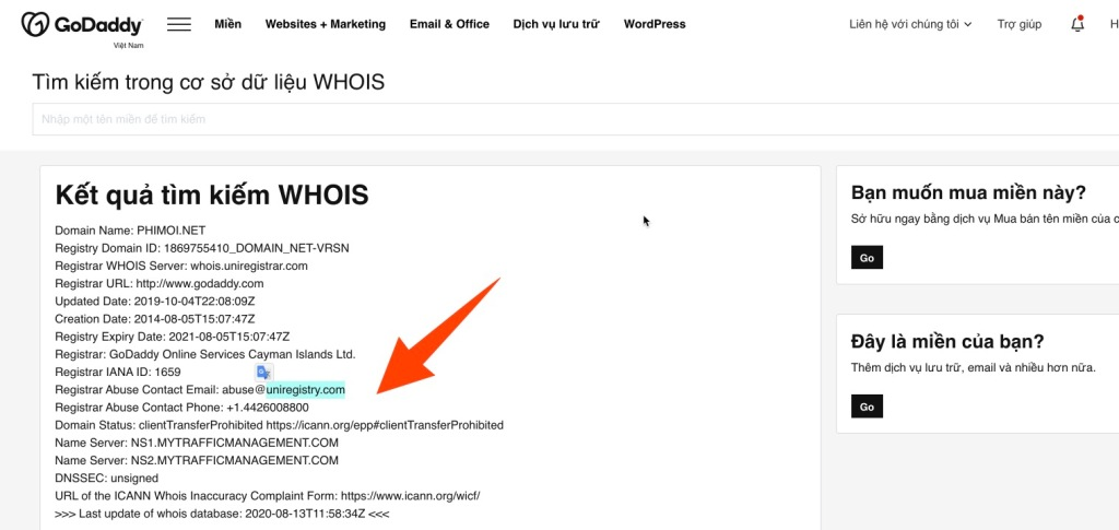 GoDaddy Whois Lookup